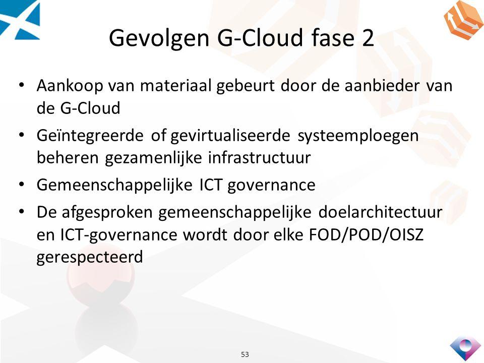 Gevolgen G-Cloud fase 2 Aankoop van materiaal gebeurt door de aanbieder van de G-Cloud Geïntegreerde of gevirtualiseerde systeemploegen beheren gezamenlijke infrastructuur Gemeenschappelijke ICT governance De afgesproken gemeenschappelijke doelarchitectuur en ICT-governance wordt door elke FOD/POD/OISZ gerespecteerd 53