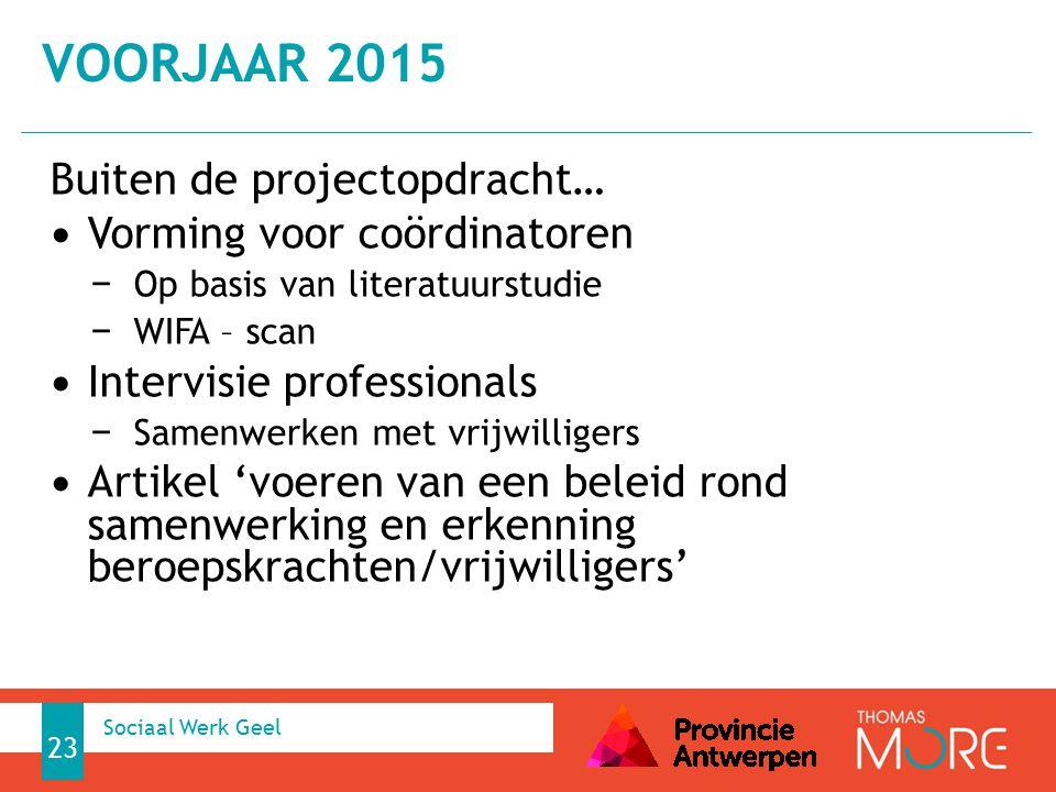 Buiten de projectopdracht… Vorming voor coördinatoren − Op basis van literatuurstudie − WIFA – scan Intervisie professionals − Samenwerken met vrijwil