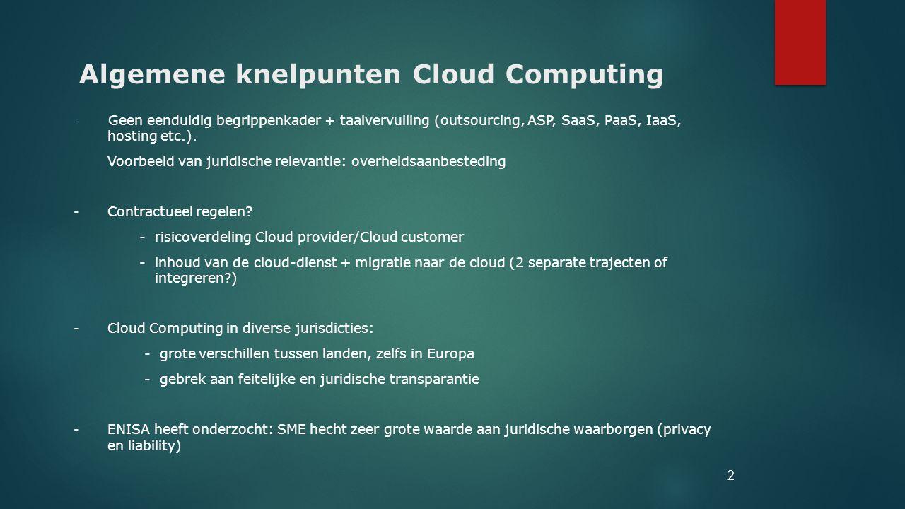 Algemene knelpunten Cloud Computing - Geen eenduidig begrippenkader + taalvervuiling (outsourcing, ASP, SaaS, PaaS, IaaS, hosting etc.). Voorbeeld van