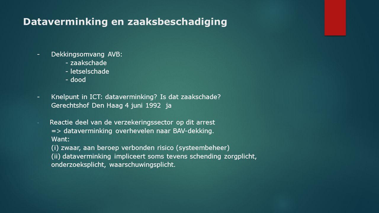 Dataverminking en zaaksbeschadiging - Dekkingsomvang AVB: - zaakschade - letselschade - dood -Knelpunt in ICT: dataverminking? Is dat zaakschade? Gere