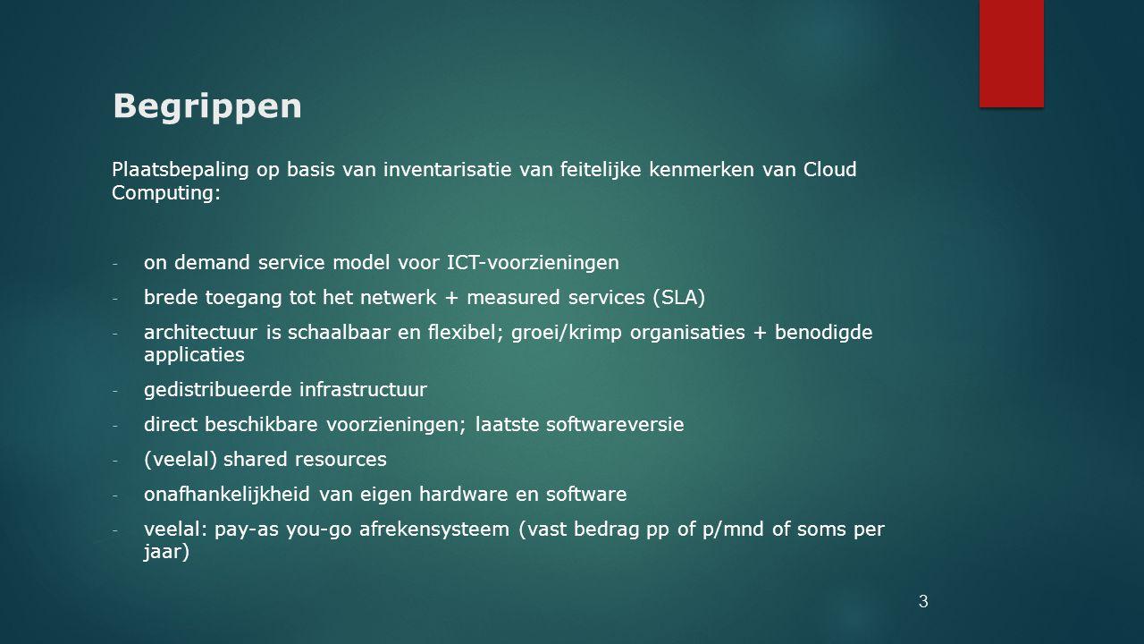 Begrippen Plaatsbepaling op basis van inventarisatie van feitelijke kenmerken van Cloud Computing: - on demand service model voor ICT-voorzieningen -