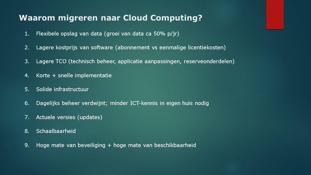 Waarom migreren naar Cloud Computing? 1.Flexibele opslag van data (groei van data ca 50% p/jr) 2.Lagere kostprijs van software (abonnement vs eenmalig