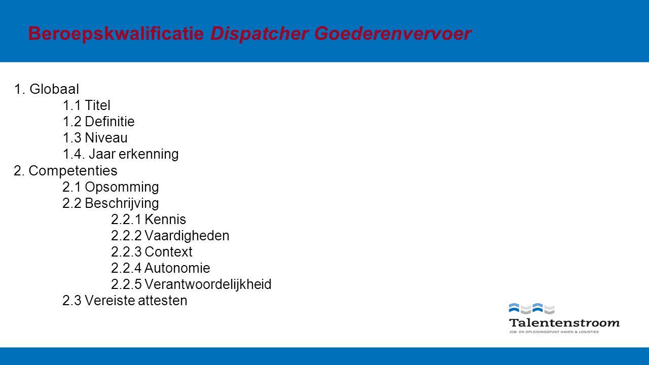 Beroepskwalificatie Dispatcher Goederenvervoer 1. Globaal 1.1 Titel 1.2 Definitie 1.3 Niveau 1.4.