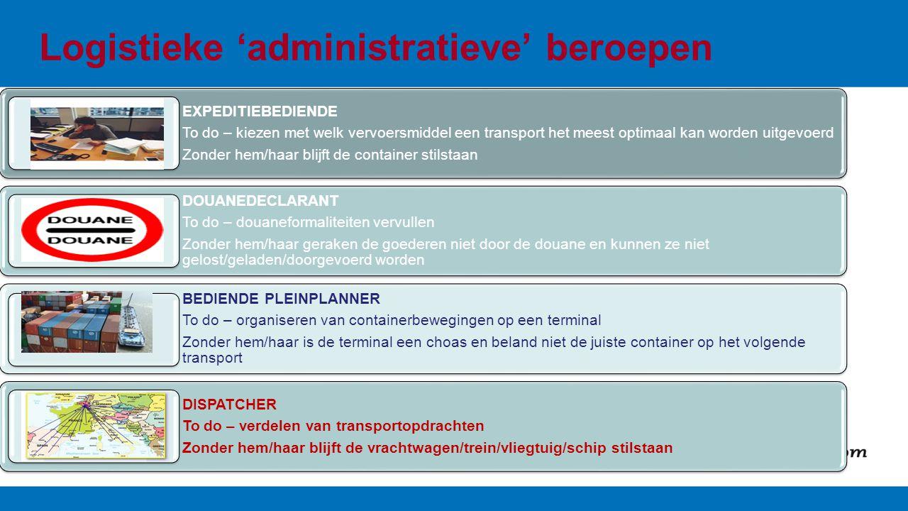 Logistieke 'administratieve' beroepen EXPEDITIEBEDIENDE To do – kiezen met welk vervoersmiddel een transport het meest optimaal kan worden uitgevoerd Zonder hem/haar blijft de container stilstaan DOUANEDECLARANT To do – douaneformaliteiten vervullen Zonder hem/haar geraken de goederen niet door de douane en kunnen ze niet gelost/geladen/doorgevoerd worden BEDIENDE PLEINPLANNER To do – organiseren van containerbewegingen op een terminal Zonder hem/haar is de terminal een choas en beland niet de juiste container op het volgende transport DISPATCHER To do – verdelen van transportopdrachten Zonder hem/haar blijft de vrachtwagen/trein/vliegtuig/schip stilstaan
