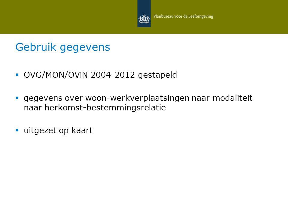 Gebruik gegevens  OVG/MON/OViN 2004-2012 gestapeld  gegevens over woon-werkverplaatsingen naar modaliteit naar herkomst-bestemmingsrelatie  uitgezet op kaart 12 februari 2015   Daniëlle Snellen & Hans Hilbers 21
