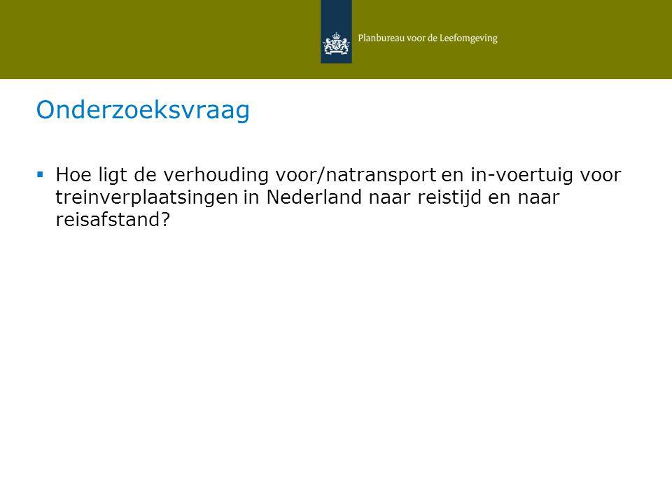 Onderzoeksvraag  Hoe ligt de verhouding voor/natransport en in-voertuig voor treinverplaatsingen in Nederland naar reistijd en naar reisafstand.