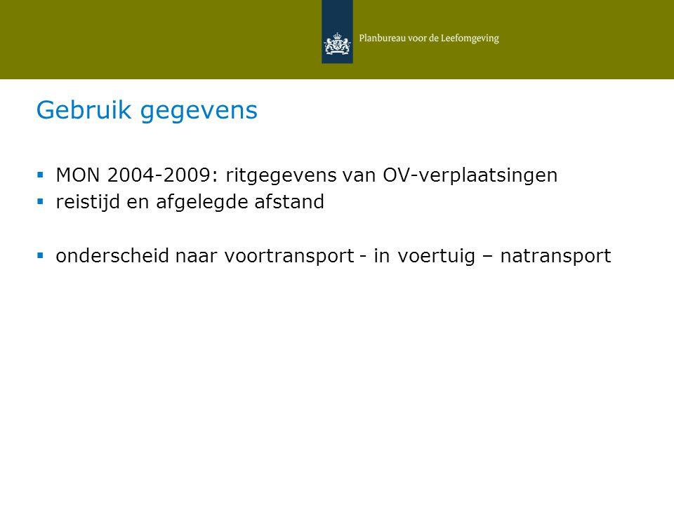 Gebruik gegevens  MON 2004-2009: ritgegevens van OV-verplaatsingen  reistijd en afgelegde afstand  onderscheid naar voortransport - in voertuig – natransport 12 februari 2015   Daniëlle Snellen & Hans Hilbers 26