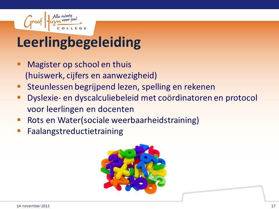 Leerlingbegeleiding  Magister op school en thuis (huiswerk, cijfers en aanwezigheid)  Steunlessen begrijpend lezen, spelling en rekenen  Dyslexie-