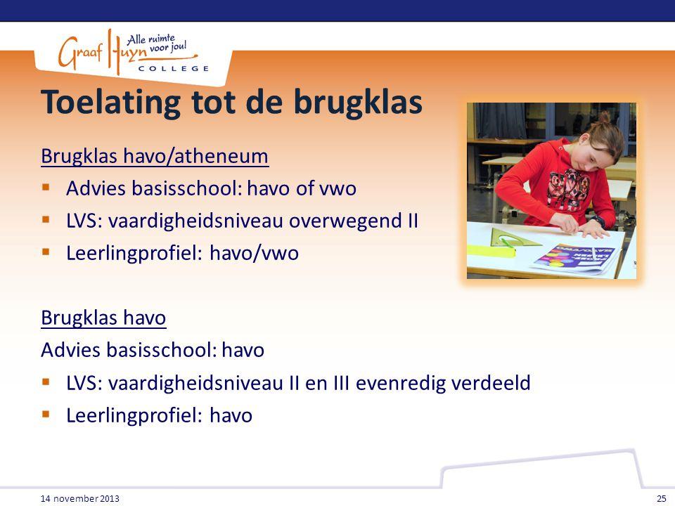 Toelating tot de brugklas Brugklas havo/atheneum  Advies basisschool: havo of vwo  LVS: vaardigheidsniveau overwegend II  Leerlingprofiel: havo/vwo
