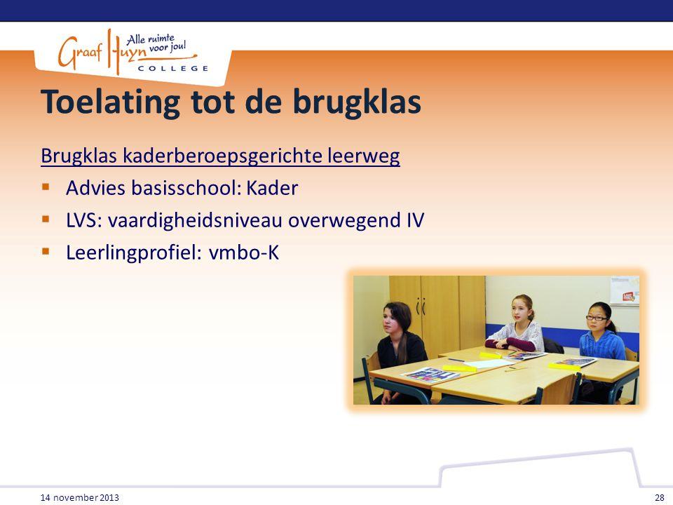 Toelating tot de brugklas Brugklas kaderberoepsgerichte leerweg  Advies basisschool: Kader  LVS: vaardigheidsniveau overwegend IV  Leerlingprofiel: