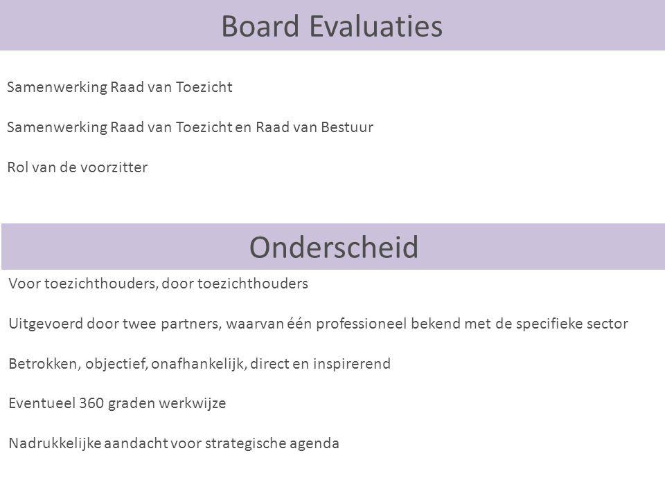 Board Evaluaties Samenwerking Raad van Toezicht Samenwerking Raad van Toezicht en Raad van Bestuur Rol van de voorzitter Voor toezichthouders, door to