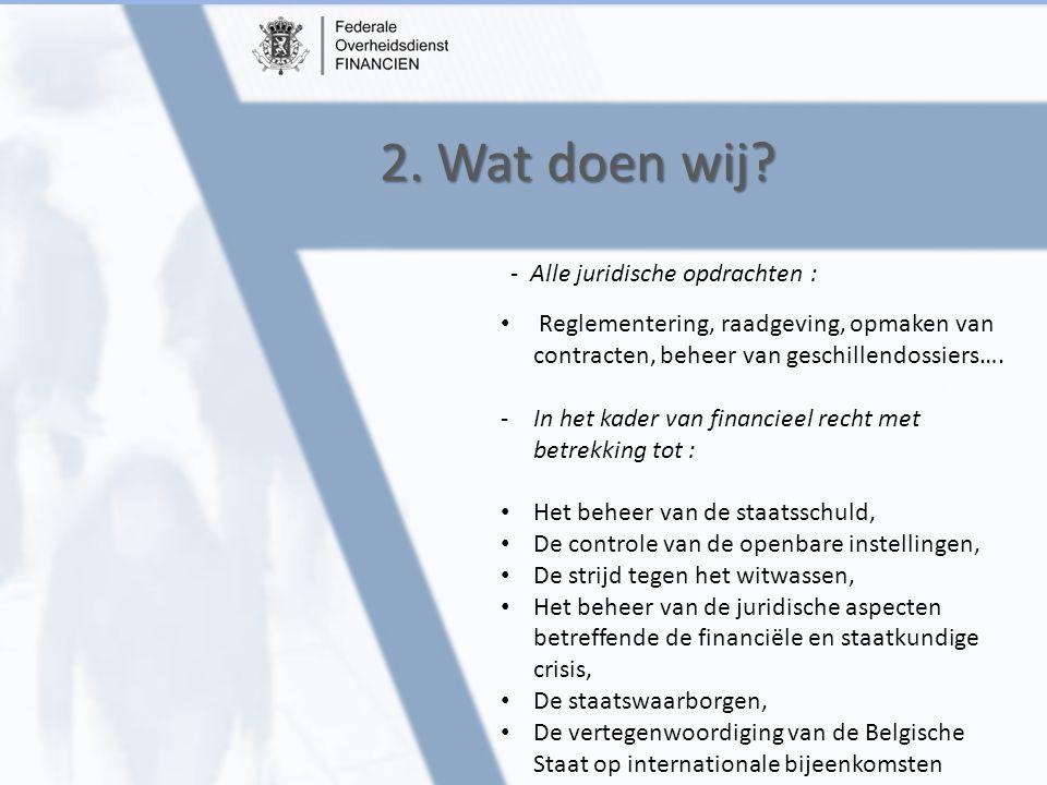 2. Wat doen wij? Reglementering, raadgeving, opmaken van contracten, beheer van geschillendossiers…. -In het kader van financieel recht met betrekking