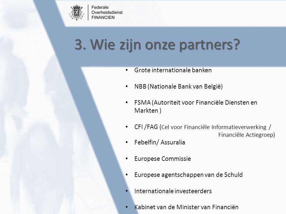 3. Wie zijn onze partners? Grote internationale banken NBB (Nationale Bank van België) FSMA (Autoriteit voor Financiële Diensten en Markten ) CFI /FAG