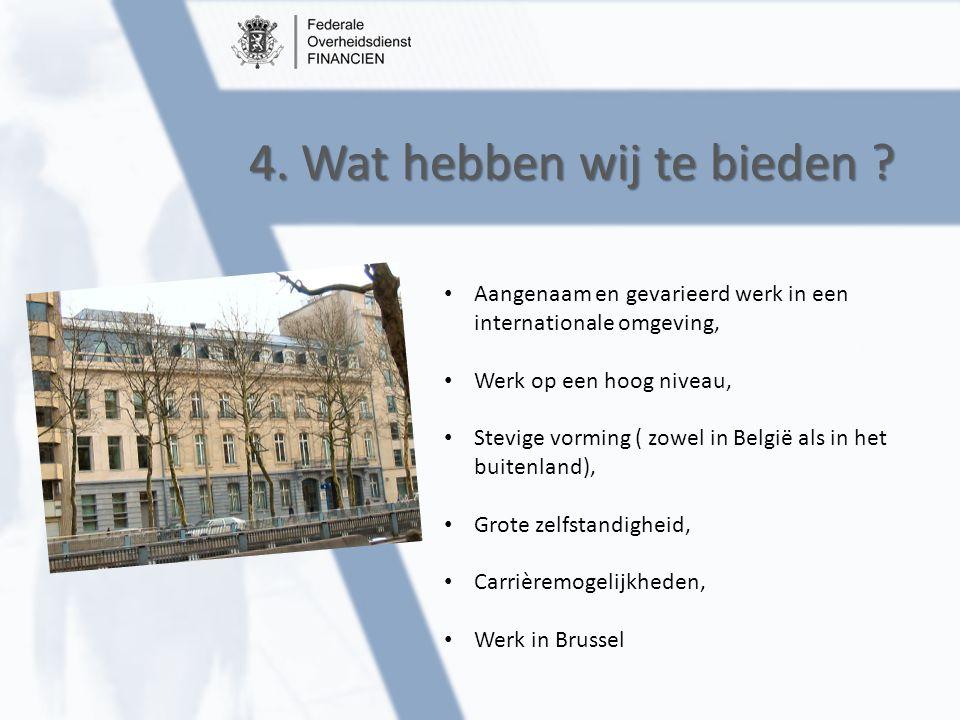 4. Wat hebben wij te bieden ? Aangenaam en gevarieerd werk in een internationale omgeving, Werk op een hoog niveau, Stevige vorming ( zowel in België