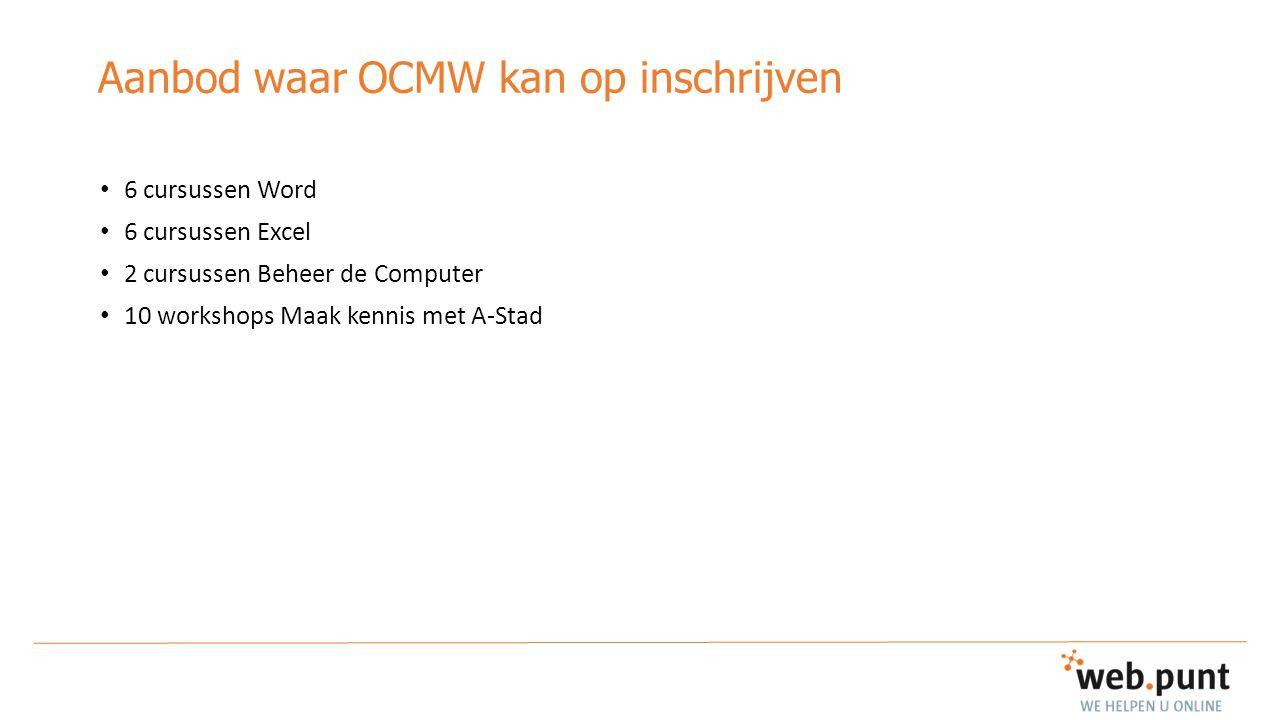 Aanbod waar OCMW kan op inschrijven 6 cursussen Word 6 cursussen Excel 2 cursussen Beheer de Computer 10 workshops Maak kennis met A-Stad