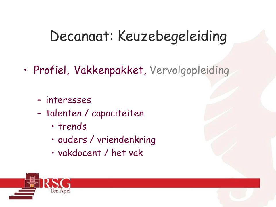 Decanaat: Keuzebegeleiding Profiel, Vakkenpakket, Vervolgopleiding –interesses –talenten / capaciteiten trends ouders / vriendenkring vakdocent / het vak