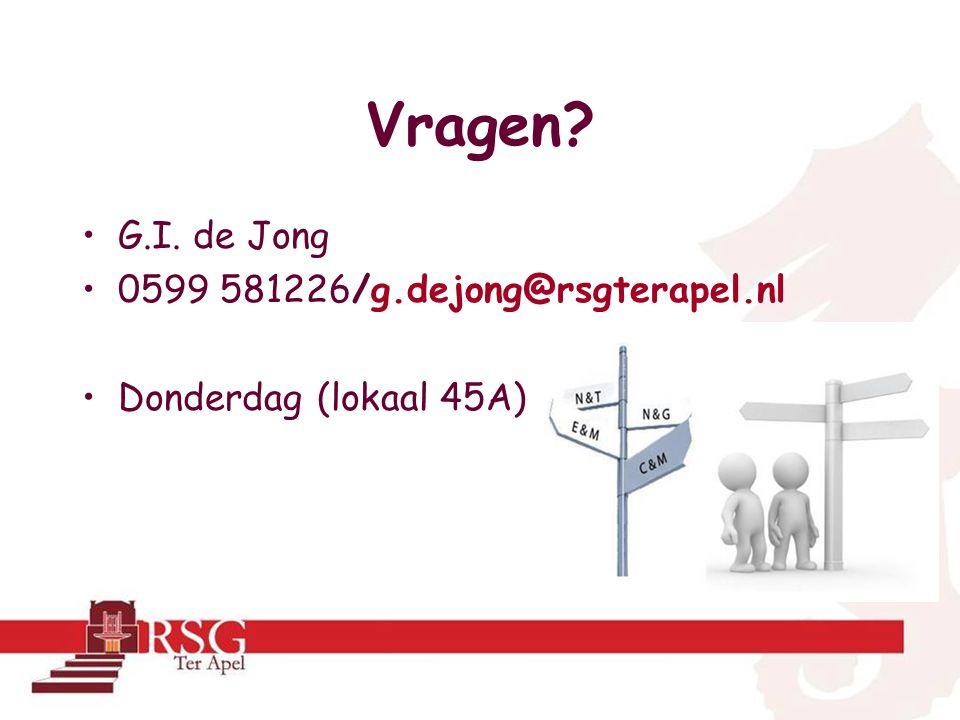 Vragen G.I. de Jong 0599 581226/g.dejong@rsgterapel.nl Donderdag (lokaal 45A)