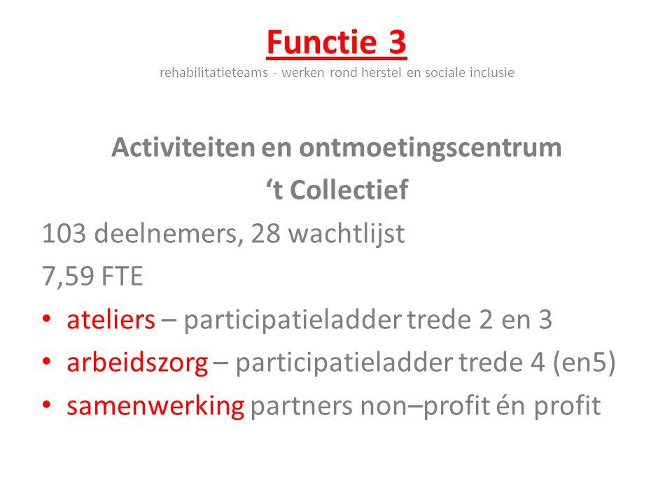 Functie 3 rehabilitatieteams - werken rond herstel en sociale inclusie Activiteiten en ontmoetingscentrum 't Collectief 103 deelnemers, 28 wachtlijst