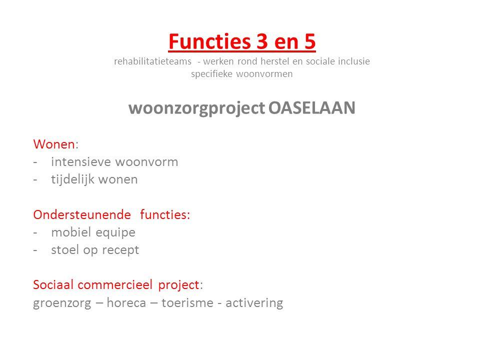 Functies 3 en 5 rehabilitatieteams - werken rond herstel en sociale inclusie specifieke woonvormen woonzorgproject OASELAAN Wonen: -intensieve woonvor