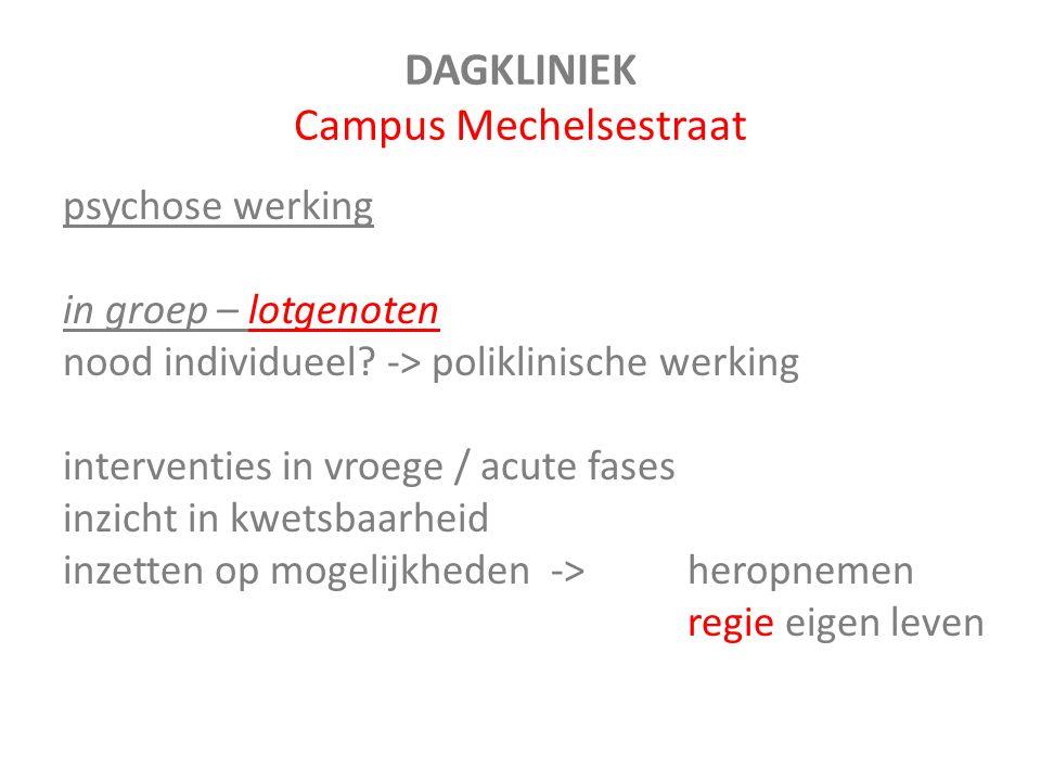 DAGKLINIEK Campus Mechelsestraat psychose werking in groep – lotgenoten nood individueel? -> poliklinische werking interventies in vroege / acute fase