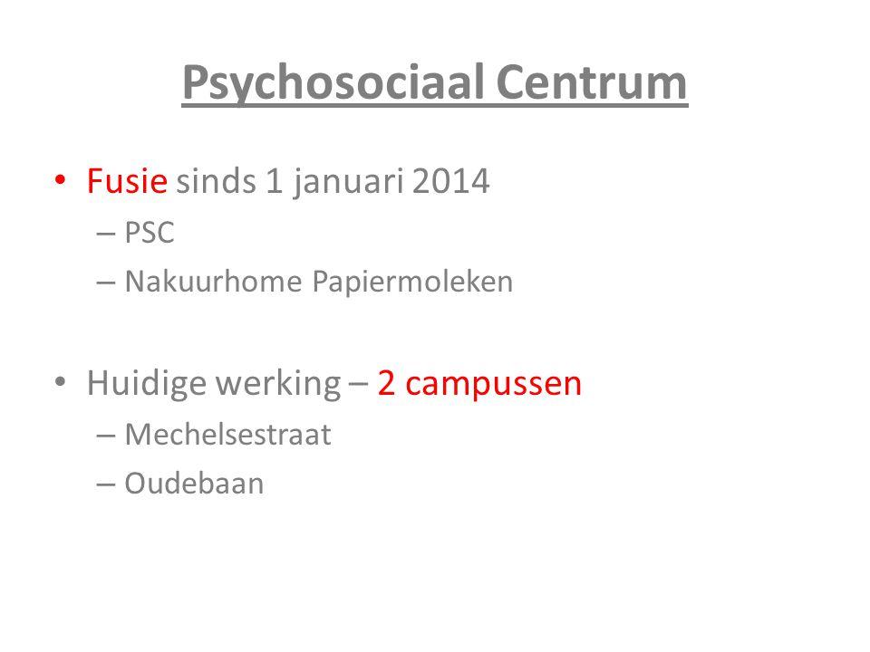 Psychosociaal Centrum Fusie sinds 1 januari 2014 – PSC – Nakuurhome Papiermoleken Huidige werking – 2 campussen – Mechelsestraat – Oudebaan