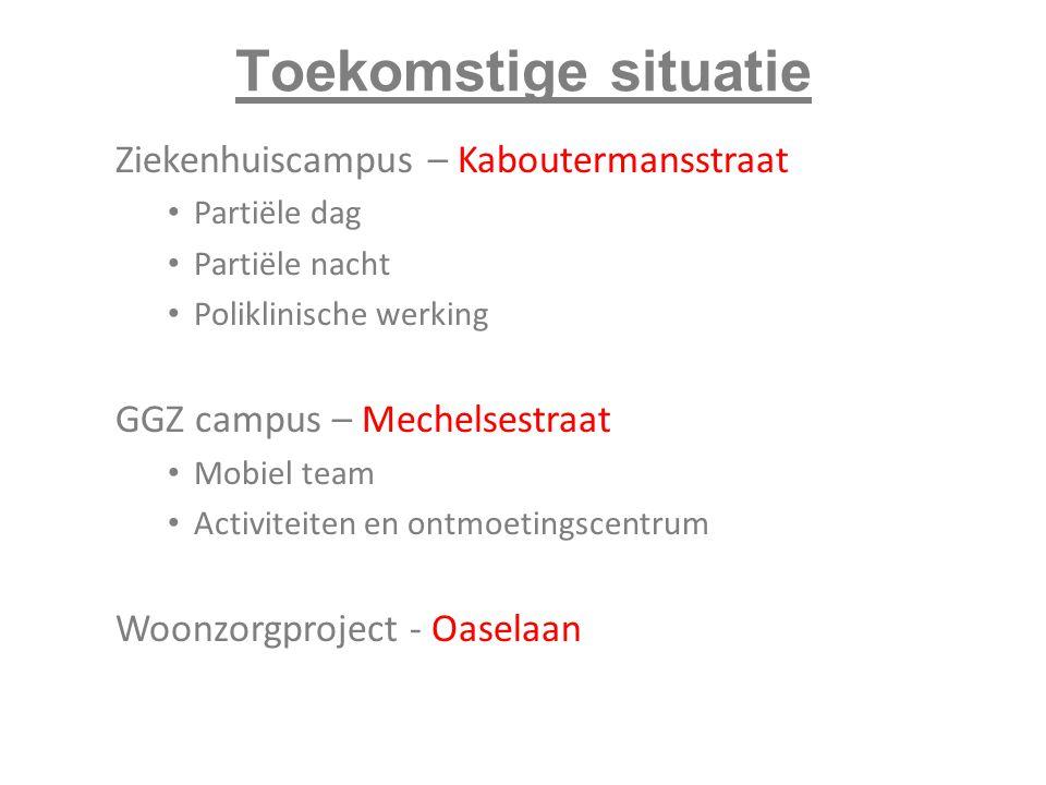 Toekomstige situatie Ziekenhuiscampus – Kaboutermansstraat Partiële dag Partiële nacht Poliklinische werking GGZ campus – Mechelsestraat Mobiel team A