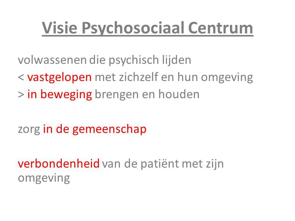 Visie Psychosociaal Centrum volwassenen die psychisch lijden < vastgelopen met zichzelf en hun omgeving > in beweging brengen en houden zorg in de gem