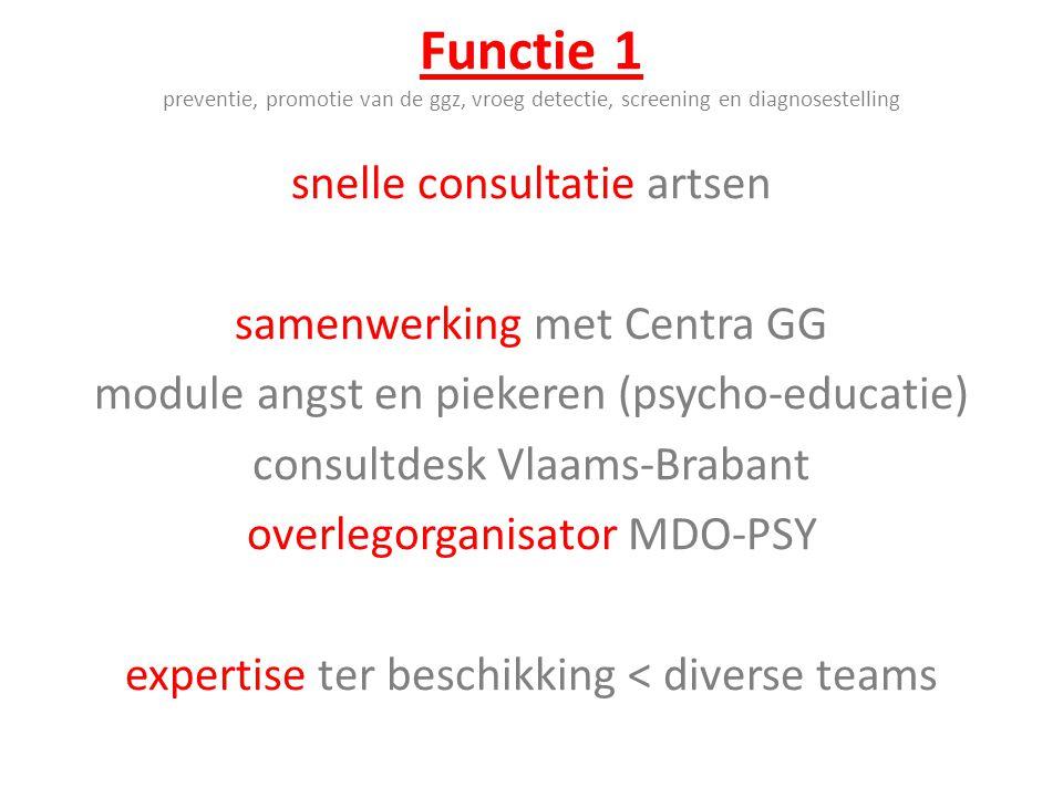 Functie 1 preventie, promotie van de ggz, vroeg detectie, screening en diagnosestelling snelle consultatie artsen samenwerking met Centra GG module an