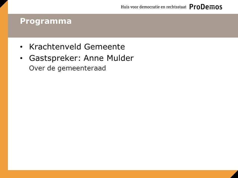 Programma Krachtenveld Gemeente Gastspreker: Anne Mulder Over de gemeenteraad