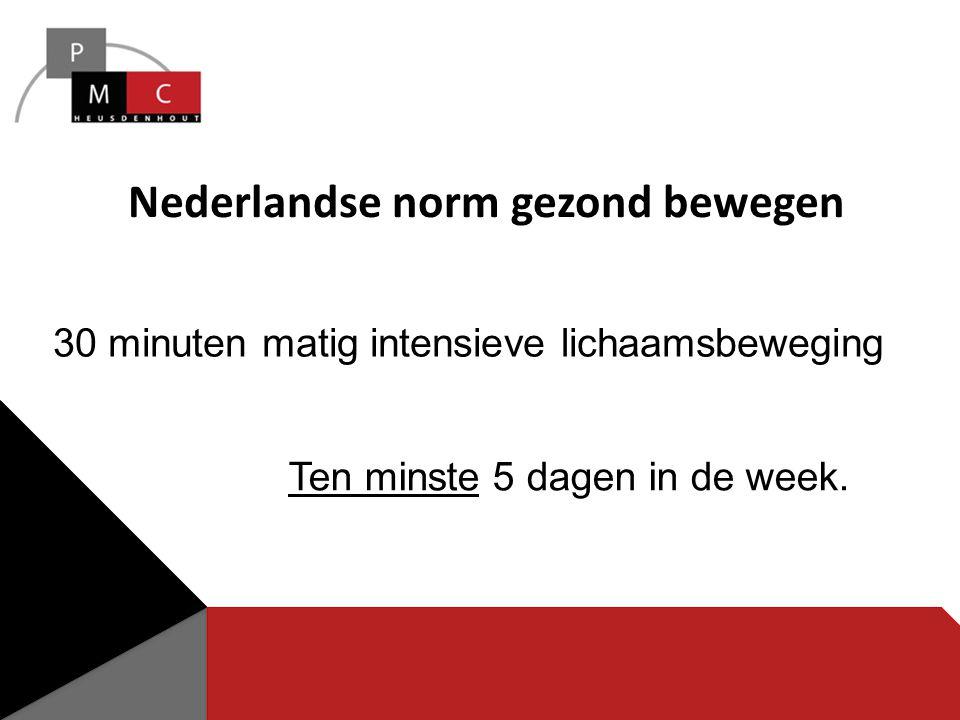 Nederlandse norm gezond bewegen 30 minuten matig intensieve lichaamsbeweging Ten minste 5 dagen in de week.