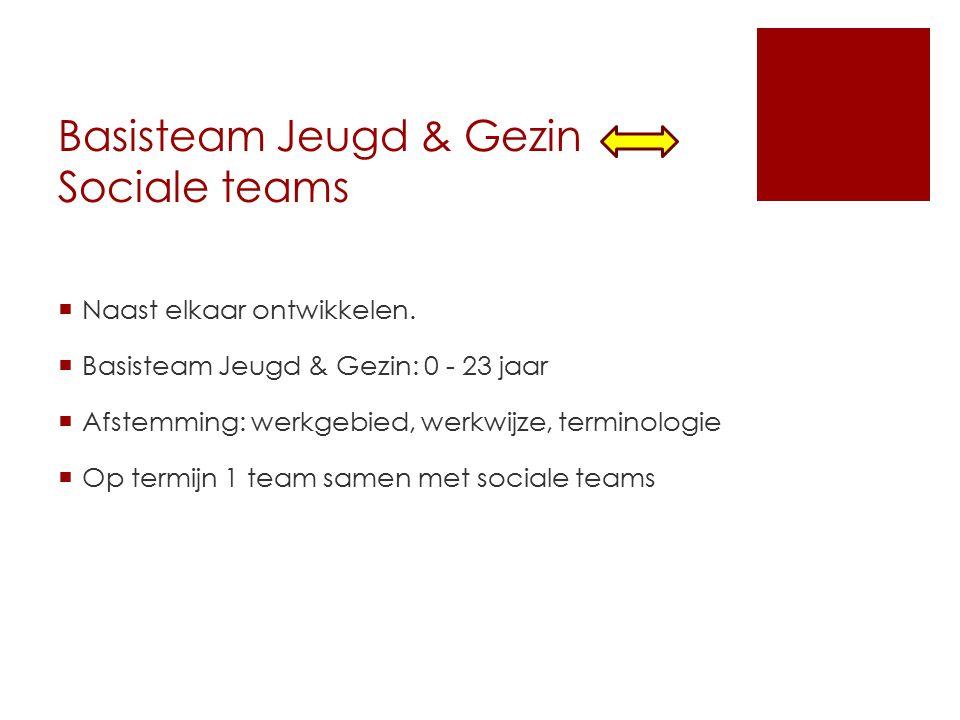 Basisteam Jeugd & Gezin Sociale teams  Naast elkaar ontwikkelen.