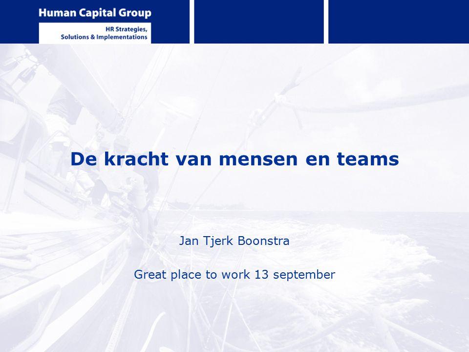De kracht van mensen en teams Jan Tjerk Boonstra Great place to work 13 september
