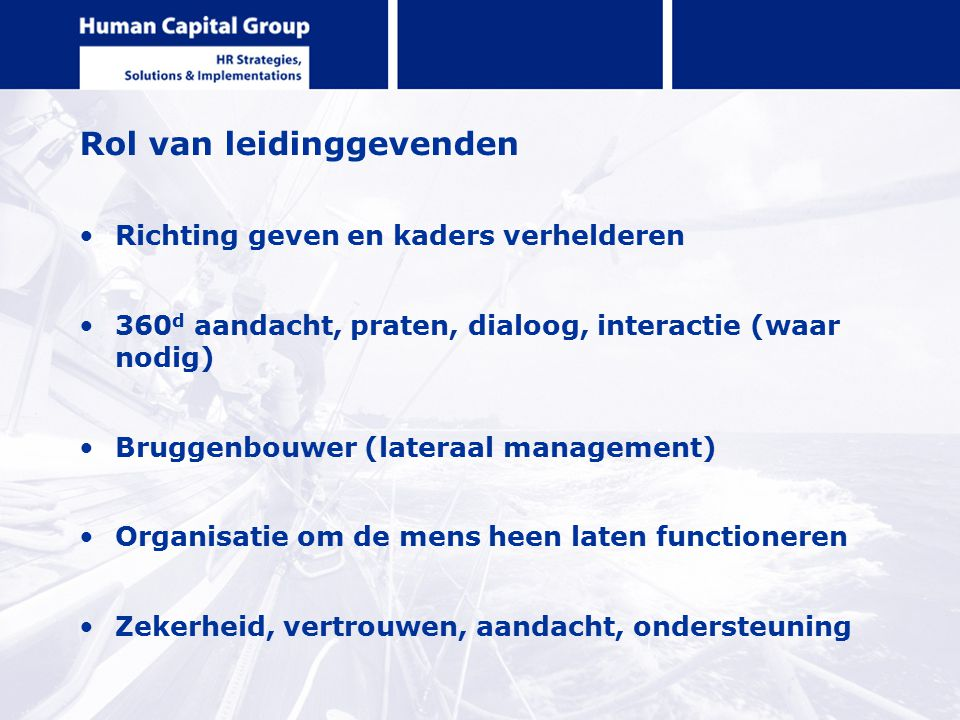 Rol van leidinggevenden Richting geven en kaders verhelderen 360 d aandacht, praten, dialoog, interactie (waar nodig) Bruggenbouwer (lateraal manageme