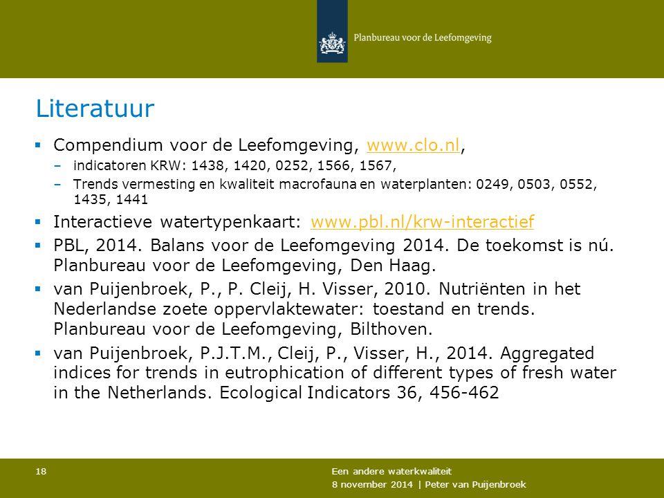 Literatuur  Compendium voor de Leefomgeving, www.clo.nl,www.clo.nl –indicatoren KRW: 1438, 1420, 0252, 1566, 1567, –Trends vermesting en kwaliteit macrofauna en waterplanten: 0249, 0503, 0552, 1435, 1441  Interactieve watertypenkaart: www.pbl.nl/krw-interactiefwww.pbl.nl/krw-interactief  PBL, 2014.