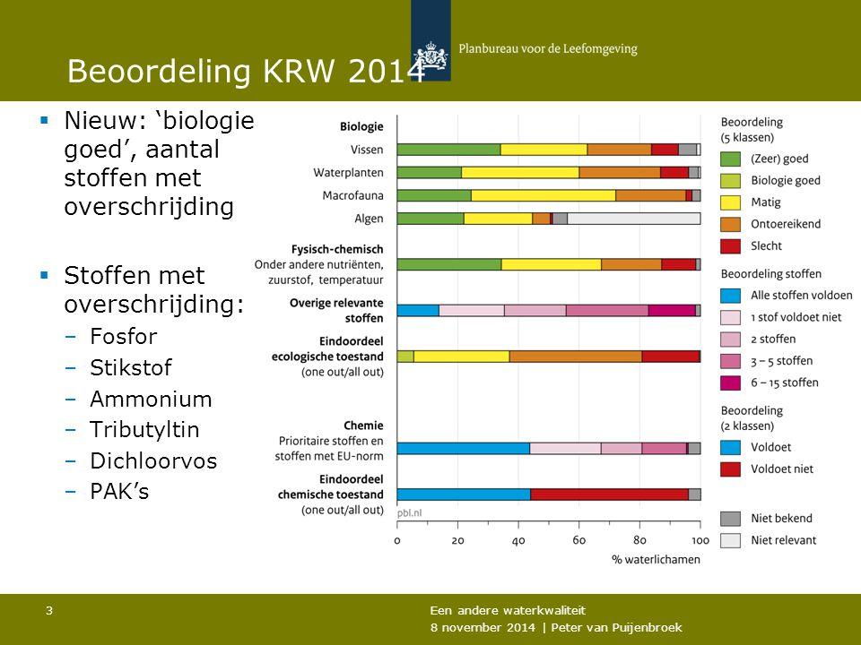 Een andere waterkwaliteit 8 november 2014 | Peter van Puijenbroek 3 Beoordeling KRW 2014  Nieuw: 'biologie goed', aantal stoffen met overschrijding  Stoffen met overschrijding: –Fosfor –Stikstof –Ammonium –Tributyltin –Dichloorvos –PAK's