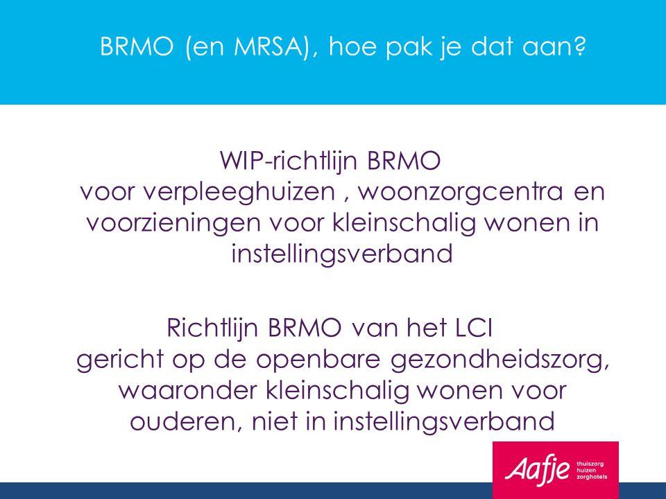 BRMO (en MRSA), hoe pak je dat aan? WIP-richtlijn BRMO voor verpleeghuizen, woonzorgcentra en voorzieningen voor kleinschalig wonen in instellingsverb