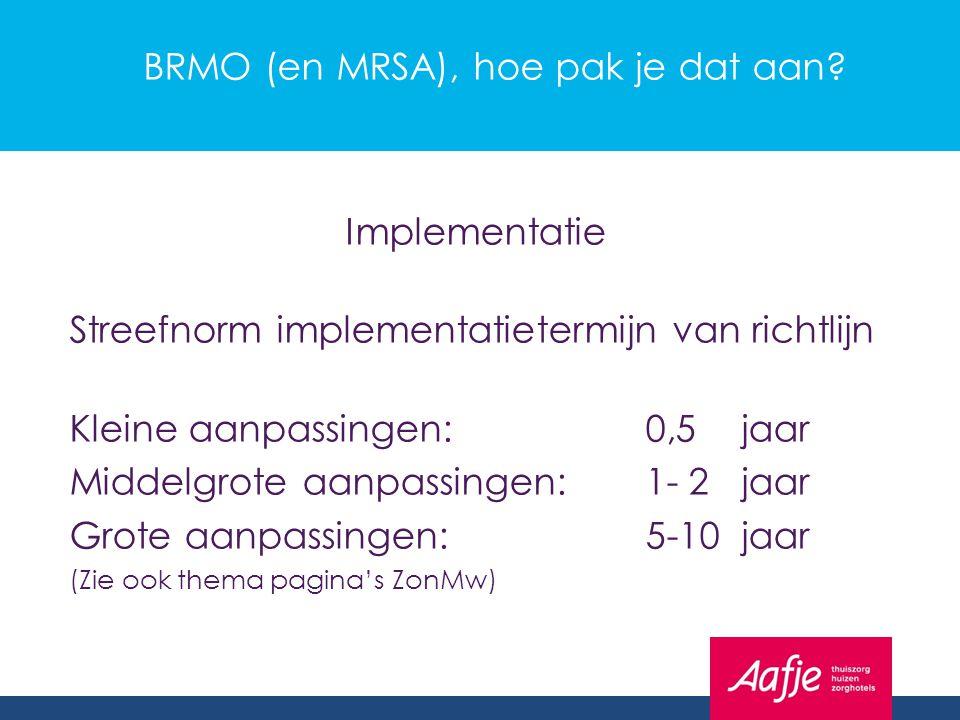 BRMO (en MRSA), hoe pak je dat aan? Implementatie Streefnorm implementatietermijn van richtlijn Kleine aanpassingen:0,5jaar Middelgrote aanpassingen:1
