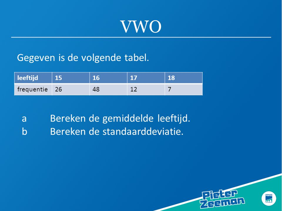 VWO Gegeven is de volgende tabel.