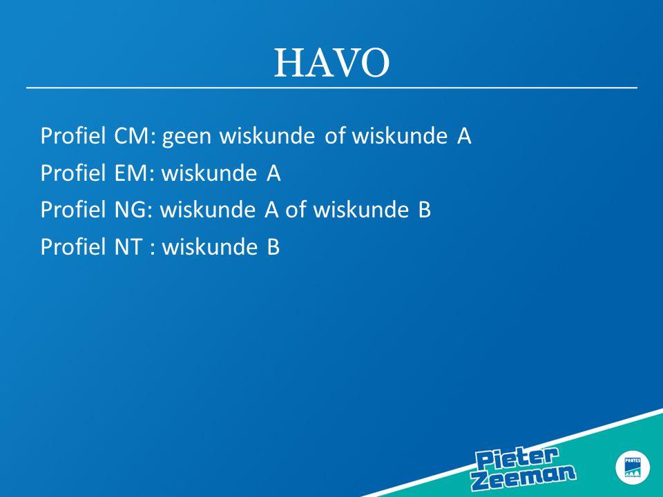 HAVO Profiel CM: geen wiskunde of wiskunde A Profiel EM: wiskunde A Profiel NG: wiskunde A of wiskunde B Profiel NT : wiskunde B