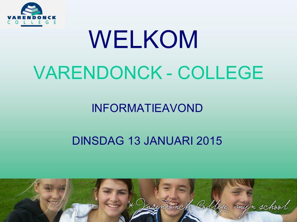 VARENDONCK - COLLEGE INFORMATIEAVOND DINSDAG 13 JANUARI 2015 WELKOM