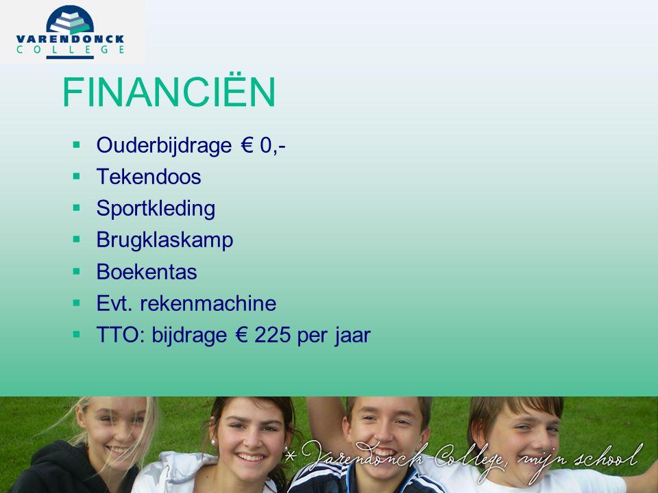 FINANCIËN   Ouderbijdrage € 0,-   Tekendoos   Sportkleding   Brugklaskamp   Boekentas   Evt.