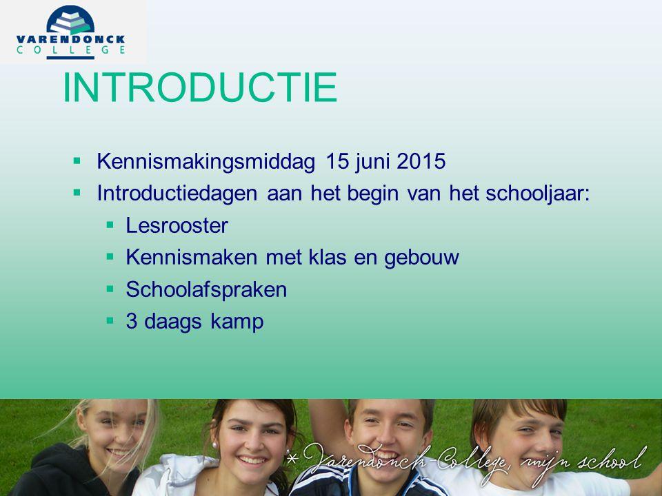 INTRODUCTIE   Kennismakingsmiddag 15 juni 2015   Introductiedagen aan het begin van het schooljaar:   Lesrooster   Kennismaken met klas en gebouw   Schoolafspraken   3 daags kamp