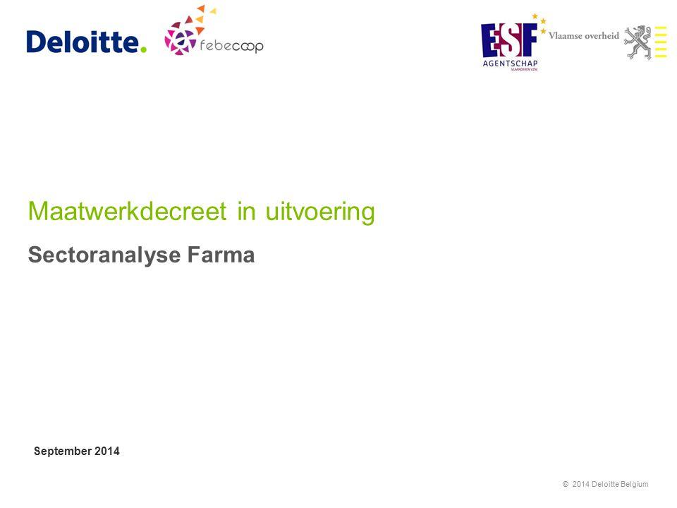 Maatwerkdecreet in uitvoering Sectoranalyse Farma September 2014 © 2014 Deloitte Belgium