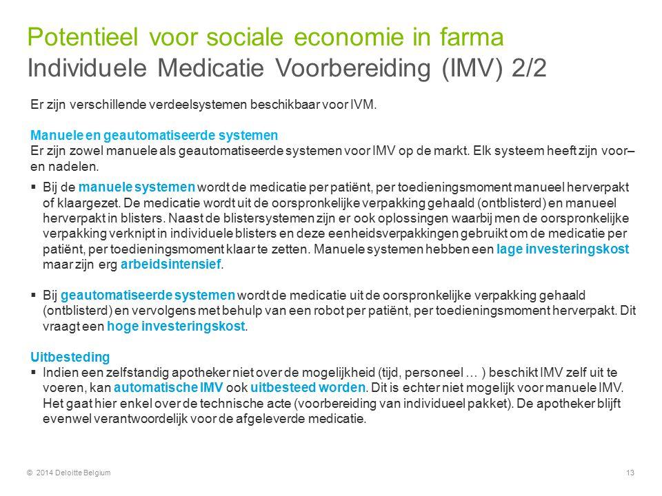 13© 2014 Deloitte Belgium Er zijn verschillende verdeelsystemen beschikbaar voor IVM. Manuele en geautomatiseerde systemen Er zijn zowel manuele als g