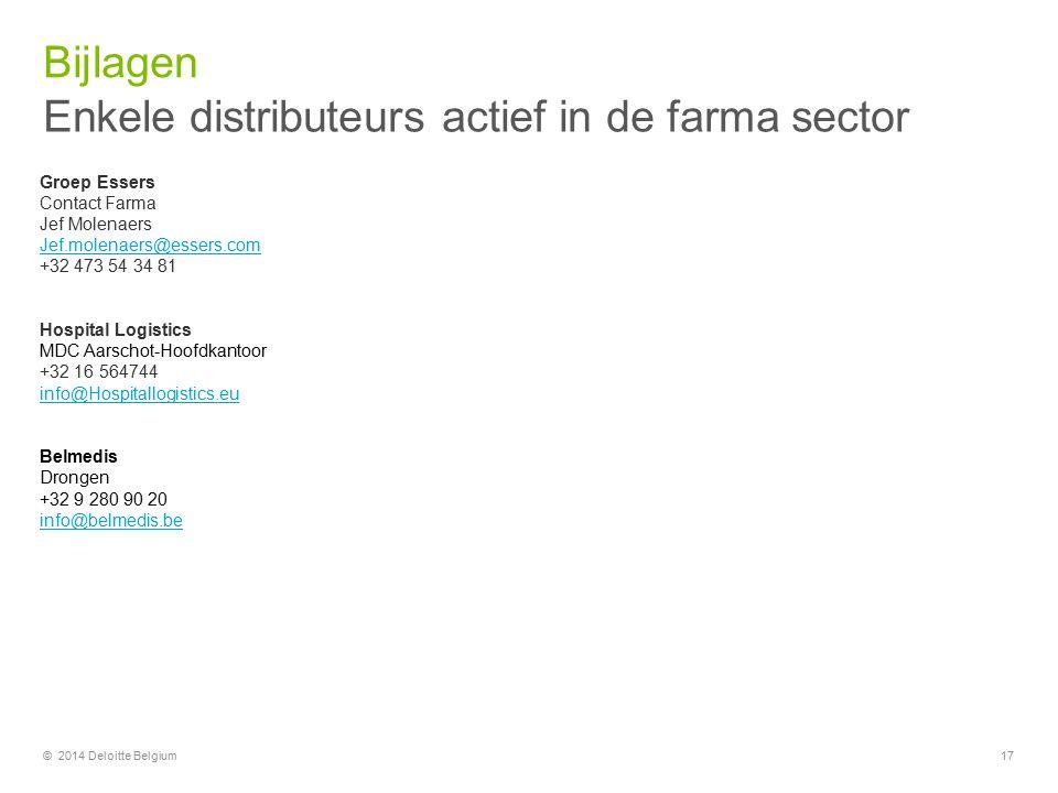 Bijlagen 17 Groep Essers Contact Farma Jef Molenaers Jef.molenaers@essers.com +32 473 54 34 81 Hospital Logistics MDC Aarschot-Hoofdkantoor +32 16 564744 info@Hospitallogistics.eu Belmedis Drongen +32 9 280 90 20 info@belmedis.be Enkele distributeurs actief in de farma sector © 2014 Deloitte Belgium