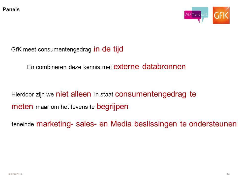 © GfK 201414 Panels GfK meet consumentengedrag in de tijd En combineren deze kennis met externe databronnen Hierdoor zijn we niet alleen in staat cons