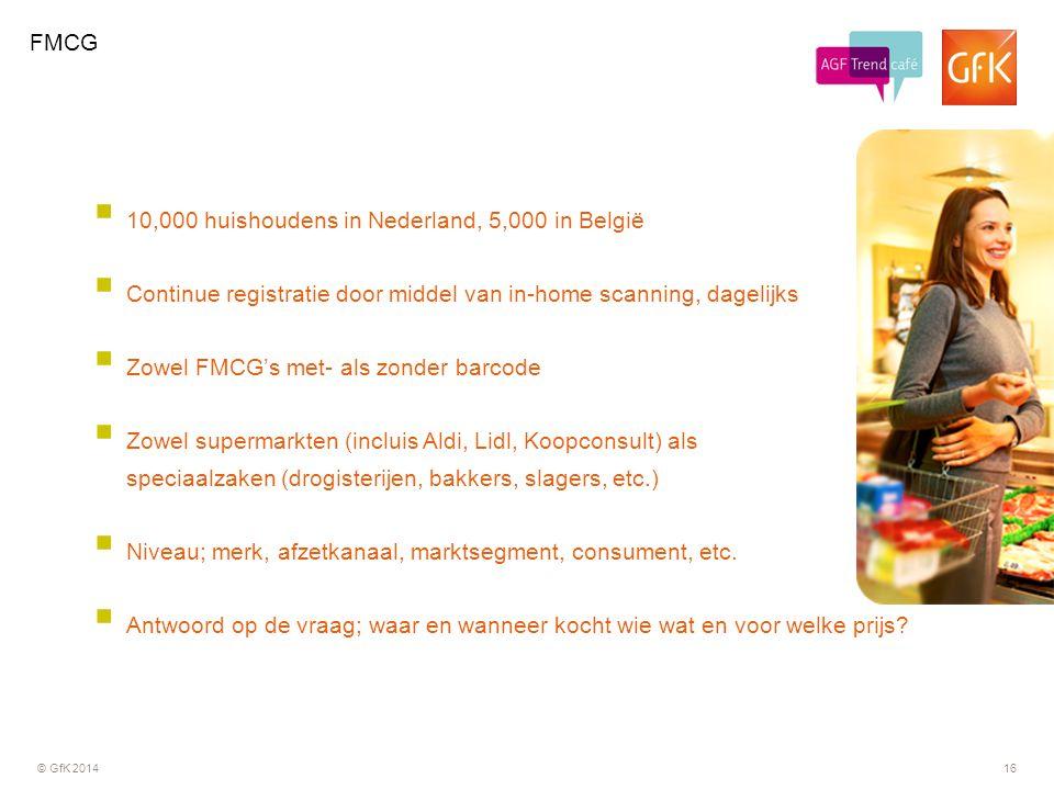 © GfK 201416  10,000 huishoudens in Nederland, 5,000 in België  Continue registratie door middel van in-home scanning, dagelijks  Zowel FMCG's met-