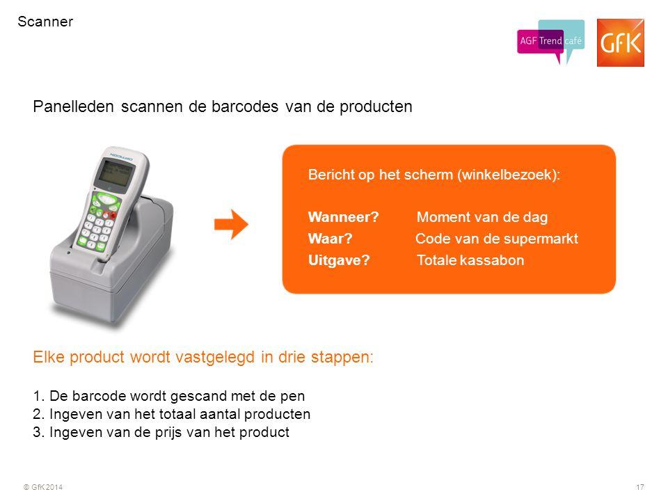 © GfK 201417 Elke product wordt vastgelegd in drie stappen: 1. De barcode wordt gescand met de pen 2. Ingeven van het totaal aantal producten 3. Ingev