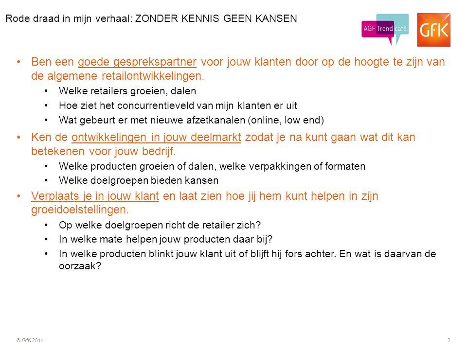 © GfK 20142 Ben een goede gesprekspartner voor jouw klanten door op de hoogte te zijn van de algemene retailontwikkelingen. Welke retailers groeien, d
