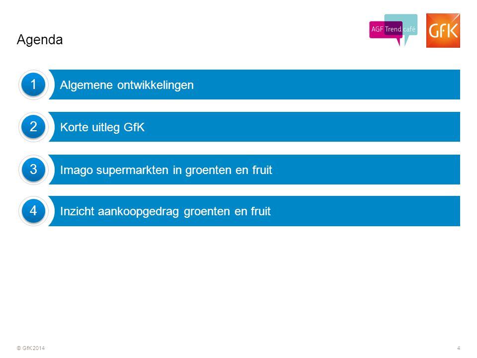 © GfK 20144 Agenda Imago supermarkten in groenten en fruit 3 3 Korte uitleg GfK 2 2 Inzicht aankoopgedrag groenten en fruit 4 4 Algemene ontwikkelinge